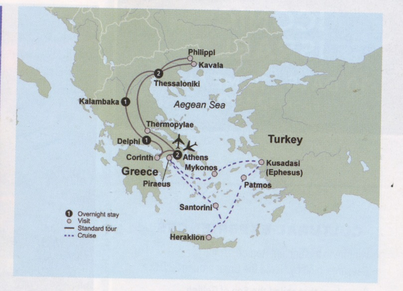 map of Greece trip